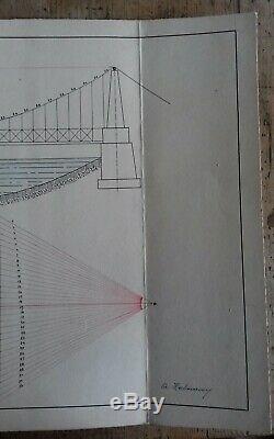Planche dessin Pont Suspendu 1927 signé Ecole nat. Technique de strasbourg