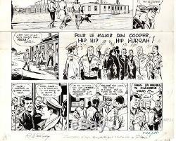Planche dessin original Dan Cooper Weinberg Ciel de Norvège Tintin autographe