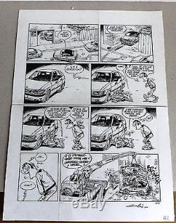 Planche original encre de chine Publier Garage Isidore par Olis
