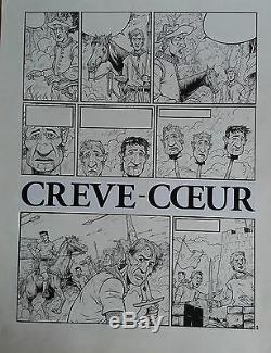 Planche originale 2 Les Dames de Crève-coeur Hausman Noir Dessin Légende Namur