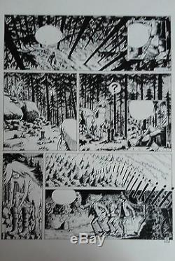 Planche originale 5 La Bête du Staneux Bodeson Hausman Noir Dessin Légende