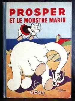 Planche originale Alain SAINT-OGAN Les aventures de Prosper 1934 signée, encadrée