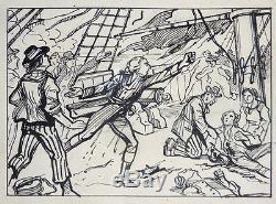 Planche originale Dessin de Georges QUESNEL vers 1910 dessin Louis XVI l'émigré