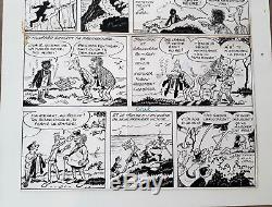 Planche originale Pellos les pieds Nickelés campeur page 9