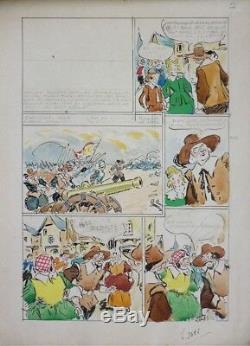 Planche originale de BOURDIN parue dans LISETTE en 1941 dessin BOB ET NIQUETTE