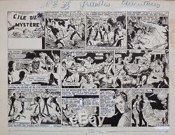 Planche originale de L'ILE DU MYSTÈRE paru dans Les Grandes Aventure v. 1940