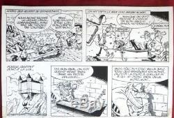 Planche originale de REMACLE dessin original bd Barbe Noire journal Spirou