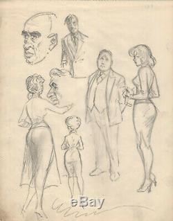 Planche originale dessin crayon Guido BUZZELLI dedicace illustration