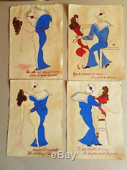 Planches de dessin anciennes peinture à l'eau signé P H 1944
