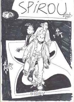 Projet de couverture de Le Gall pour Spirou Les marais du temps (signé)