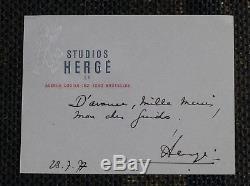 RARISSIME Tintin/Hergé, lettre manuscrite signée Hergé