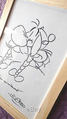 Rare DESSIN d'OBELIX de la bande dessinée Astérix, dédicace signé UDERZO, TBE
