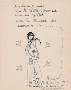 Raymond PEYNET Dessin original Les Amoureux