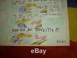 Reiser planche originale couleur dessin EO charlie hebdo années 70 signé bd bébé