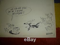 Reiser planche originale dessin EO charlie hebdo années 70 signé bd chiens