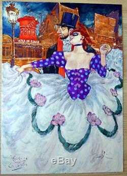 Smudja dessin original Toulouse Lautrec La Goulue Moulin rouge planche