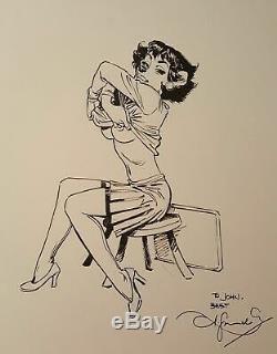 Somptueux dessin original dédicace Blacksad Guarnido Très grand format