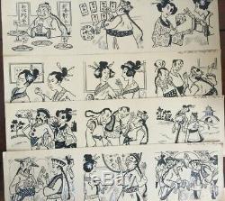 Suite de 4 planches Style BD Précurseur de la BD Histoire en image Samouraï