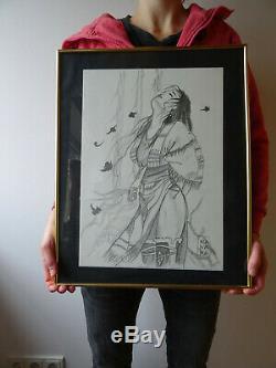 Superbe Planche originale de Milo Manara dédicace dessin été indien A3 declic