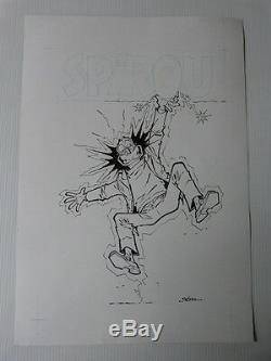 Superbe dessin original de BEDU pour les PSY (couverture SPIROU 3525)