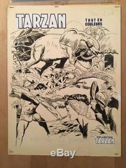 TARZAN Dessin original de couverture avec calque couleurs BE