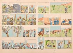 VENTE Hergé Lot 197 TINTIN en Amérique double planche mise en couleur Rare