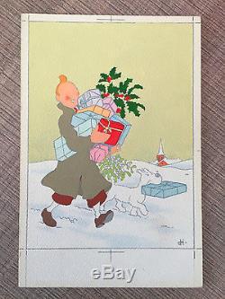 VENTE Hergé Lot 81 TINTIN mise en couleur originale carte Bonne Année Rare